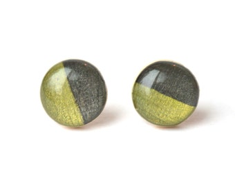 Two tone studs, Moss green and charcoal grey post earrings,  wood eco friendly jewelry, wood earrings, spring jewelry for her