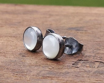 6mm Mother of Pearl Stud Post Earrings Fine Sterling Silver Oxidized - Little Bits of Color