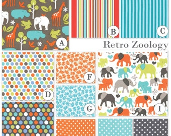 Custom Baby Crib Bedding Set - Fitted Sheet, Custom Bumper, Crib Skirt- Retro Zoology