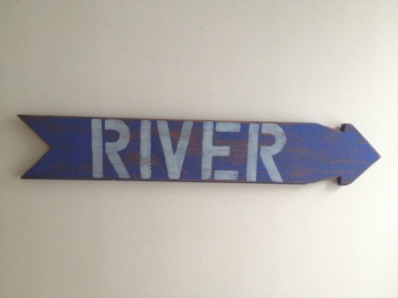 River Rustic Home Decor Wall Hanging Sign made form