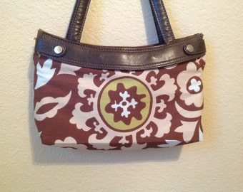 Brown print  handmade Thirty One skirt purse cover