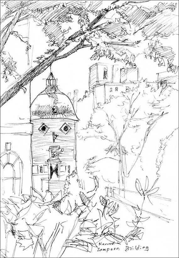 harvard lampoon building pen and ink giclee by amostroutstudio
