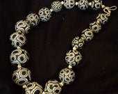 Black & White African Print  Necklace