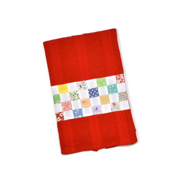 Red Kitchen Towels: Red Kitchen Towel Feedsack Fabric Vintage Waffle By