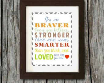 You Are Loved More Than You Know Colored Poster- Chevron Border- Digital Print