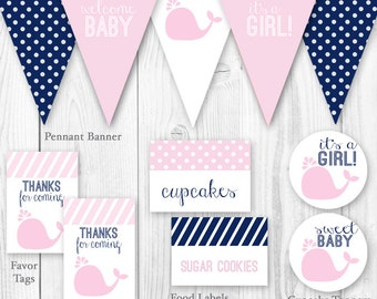 Whale Baby Shower Package - Pink & Navy. DIY Printable Baby Shower Decorations - Pink Whale Baby Shower Decor.