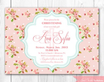 Christening Invitation. Baptism Invitation. Shabby Chic DIY Printable Invitation.
