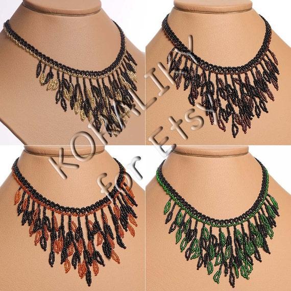 Black /Gold or Black /Brown or Black /Orange or Black /Green. Modern Ukrainian Handmade Beads NECKLACE Gerdan Leaves.
