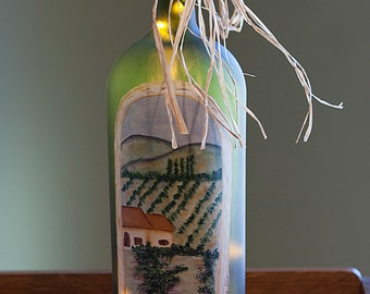 Custom Lighted Wine Bottle - Personalized Gift Vineyard Landscape -Hand Painted Accent Lighting, Housewarming, Wine Lover, Frosted Glass