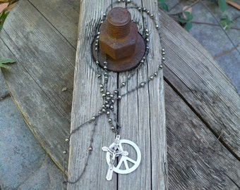 Peace & Cross necklace with glass beads