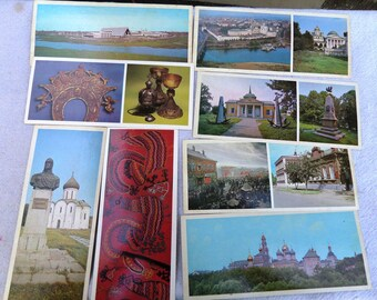 Set of 8 old vintage travel cards + cover