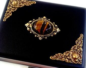 Black Leatherette Cigarette Case Card Holder Case Smokers Accessories Gothic Black Case Tiger's Eye Gemstone