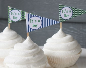 PREPPY GOLF Happy Birthday or Baby Shower Pennant Cupcake Toppers - Set of 12 {One Dozen} - Party Packs Available
