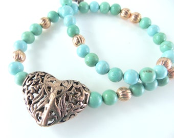 Turquoise and copper heart necklace