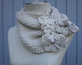 knit  scarf , neckwarmer  off white neckwarmer