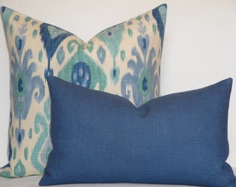DOUBLE SIDED - Decorative Pillow Cover - Accent Pillow - Medium Blue - Solid color pillow cover