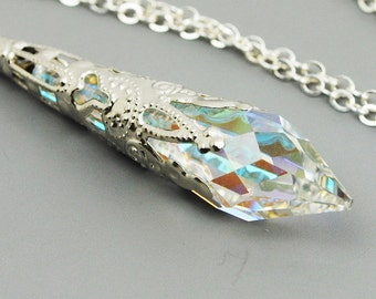 Clear Necklace - Aurora Borealis Necklace - Swarovski Necklace - Victorian Necklace - Crystal Pendant Necklace - Swarovski Jewelry