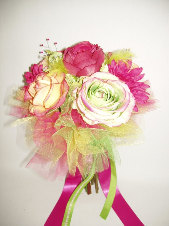 Real touch silk flower bouquet fuchsia lime green yellow like this item mightylinksfo Images