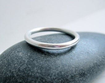 Thick Round Sterling Silver Ring - Stacking Ring