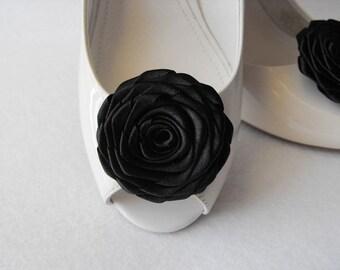 Handmade rose shoe clips in black