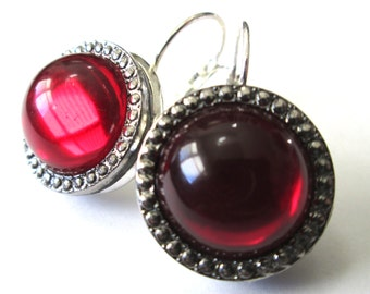 RED Vintage glass button earrings, red glass with silver beading, silver leverbacks, medium size
