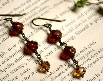 Gilded Roses Earrings with Red and Gold Rosebud Czech Glass Beads and Brass