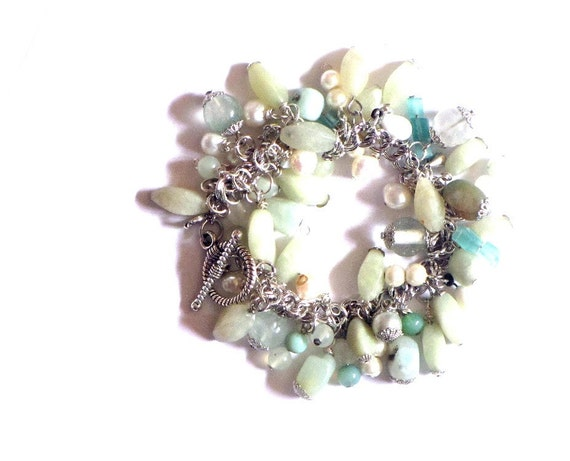 Sage and Teal Beaded Charm Bracelet, Silver Cha Cha Bracelet, Freshwater Pearls, Gemstone Beaded Bauble Bracelet