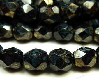 6mm Jet Black Bronze Picasso Czech Glass Beads - 25pc Strand - Round, Faceted, Fire Polished - BD39