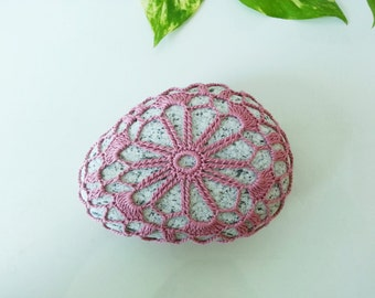 Pink Flower Crochet Stone Lace Granite Rock Bounty of Nature Beach Home Decor Table Decoration Unique Gifts