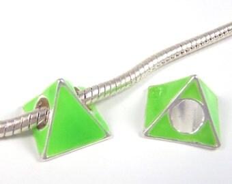 3 Beads - Neon Green Triangle Pyramid Enamel Silver European Bead Charm E0825