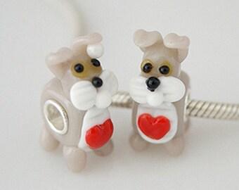1 Bead - Puppy Dog Love Heart Animal Sterling Silver Core .925 Silver European Bead Charm GJ2131 LC0004