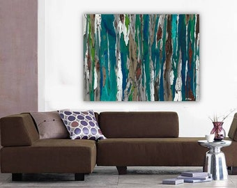 Extra LARGE Wall art ORIGINAL landscape painting very large wall art oversized Modern abstract Tree trunks blue teal canvas living room art