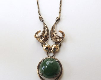 Sorrento Sterling Silver and Jade Cabochon Necklace