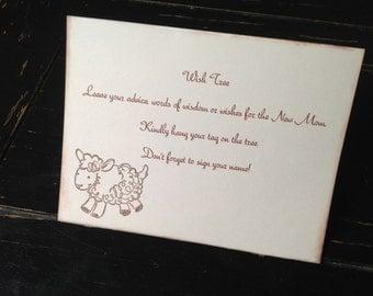 Lamb Wish tree instruction card-Lamb baby shower- instruction card for baby wish tree-gender neutral baby shower