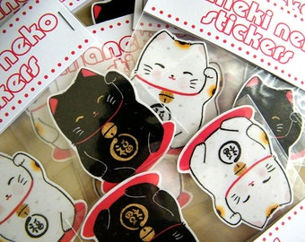 Maneki Neko Classic Stickers - 2 pack - Lucky Cat