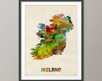 Ireland Watercolor Map, Art Print (438)