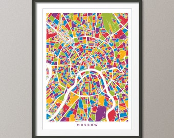 Moscow Street Map, Russia, Art Print (495)