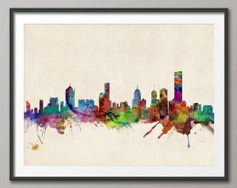 Melbourne Skyline, Melbourne Australia Cityscape Art Print (512)