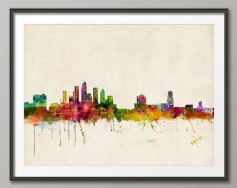 Tampa Skyline, Tampa Florida Cityscape Art Print (525)