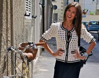 Cardigan crochet .Lace top blouse, jacket   crochet handmade , custom made . Shrug Bolero .