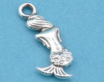 3 Mermaid Charms, Antique Silver Double sided Little Mermaid 20 x 9 mm U.S Seller - ts1141