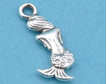 Mermaid Charms, Bulk 50 Charms Antique Silver Double sided Little Mermaid 20 x 9 mm U.S Seller - ts1130