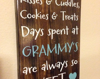 """Personalized Wood Sign - Mother/Grandmother  - """"Kisses & Cuddles"""" - Mother's Day Gift"""