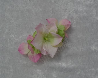 One Pink and green hydrangea fabric flower hair comb also available in hot pink