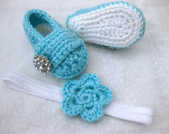 Baby Girl, Baby Shoes, Hair Bow, Headband, Hairband, Flower, SET, Teal, White, Newborn, Newborn Photos, Photo Prop