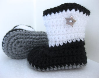 Baby Boy OR Girl Boots / Shoes - Grey, Black & White, Star - YOUR choice size - (newborn - 12 months) - photo prop - children