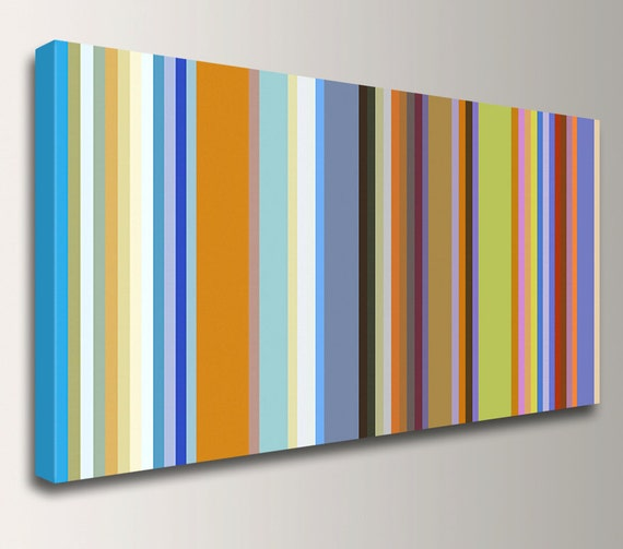 "Stripes - Line Art - Colorful Canvas Print - Retro Modern Art - Panoramic Wall Decor - ""Band of Colors"""