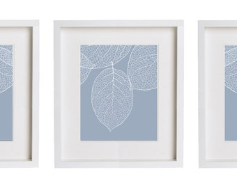 Periwinkle Blue Leaf Print Set Three Prints Botanical Leaves Wall Art