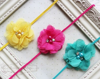 Summer Headband Set- Yellow, Hot pink and Turquoise Headbands, pink headband, newborn headbands, girls headbands, photography prop