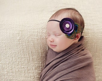 Purple Peacock Satin flower headband, baby headbands, newborn headbands, peacock headbands, photography prop, purple headbands
